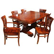 PC Solid Wood Double Pedestal Dining Table And Chair Set - Dining room table solid wood