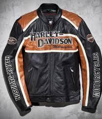 mens hd harley davidson classic cruiser orange stripes motorcycle leather jacket