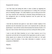 sample interview follow up letter 9 documents in follow up interview letter