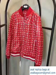 louis vuitton supreme leather jacket red 2017