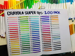 Crayola Supertips 50 Color Chart I Organized And Logged All 100 Of My Crayola Super Tips