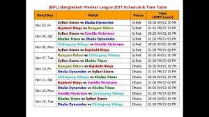 Bpl Bangladesh Premier League 2017 Schedule Time Table