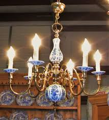 19c french blue white chandelier