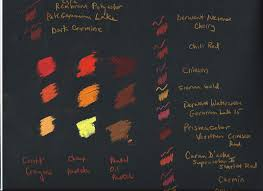 Red Colour Chart Paper Color Comparison Chart Of Reds Oranges On Black Paper