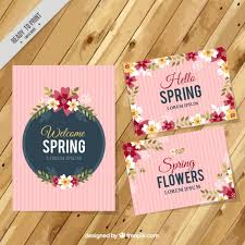 Spring Photo Cards Cute Vintage Spring Cards Set Vector Free Download