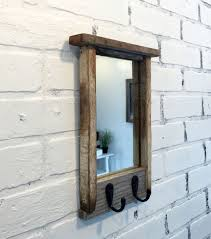 Coat Rack With Mirror Entryway Mirror With Two Coat Hooks Rustic Reclaimed Wood Coat 70