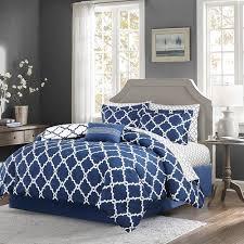 navy blue fretwork comforter set