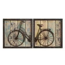 rustic bicycle wall decor set of 2 stratton home decor on iron bike wall decor with basket with rustic bicycle wall decor set of 2 stratton home decor target