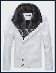mens white faux fur leather jacket