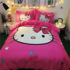 details about pink hello kitty good friends queen bed quilt cover set flat or fitted sheet
