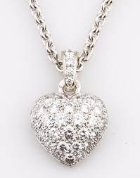 details about cartier 18k white gold diamond encrusted pave set bubble heart pendant necklace