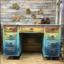 multi colored painted furniture. Blue Red Yellow Painted Desk - Multicolored Furniture Free Shipping # Multi Colored