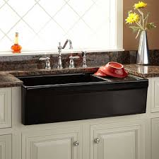 36 gallo fireclay farmhouse sink with drainboard black