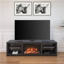 harrison tv stand with fireplace for tvs up to 70 black