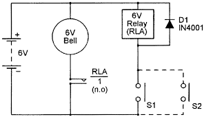 security electronics systems and circuits part 3 nuts volts and the relay contacts which can typically switch currents of several amps are wired in series the alarm bell and both combinations are wired