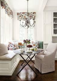 Designs Ideas:Large Stunning Banquette Breakfast Nook With Hidden Storage  Also Brown Chairs Cozy White