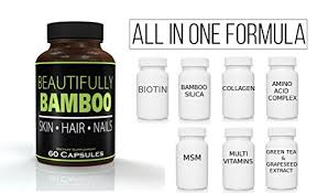 amazon beautifully bamboo ultra vitamin for skin hair and nail growth enriched with biotin bamboo silica amino acidore 60 capsules