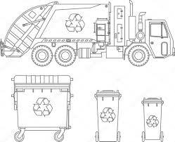 Kleurplaten Set Vuilniswagen En Verschillende Soorten