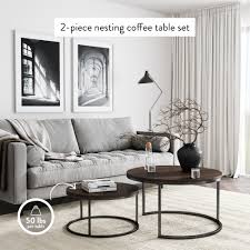Choose black coffee table sets made of wood in a rich finish. Stella Round Nesting Or Stacking Coffee Table Set Of 2 Wood Finish Metal Frame Warm Nutmeg Black Nathan James