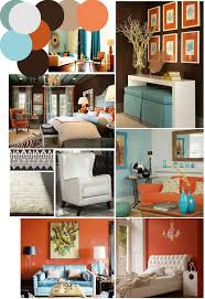 color palette inspo: chocolate brown, coral and robin's egg blue
