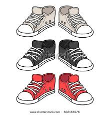 hanging converse shoes drawing. sneakers drawing set. black, red and white traditional sport shoes. sketch doodle style hanging converse shoes