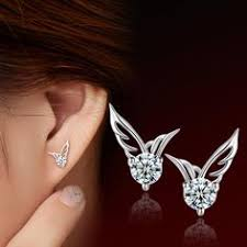 Romantic Heart-Shaped Mini <b>Silver</b> Polished Women Earring Studs ...