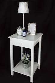 white side tables. (53175 Square) Elegant White Wooden Square Side Table, One Drawer And Lower Shelf - Suit: Bedside, Lamp, Hall, Coffee Occasional: Amazon.co.uk: Kitchen Tables
