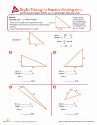 right triangle practice finding area worksheet com give your little mathematician a gentle introduction to geometry this charming worksheet she ll practice finding the area of four right triangles