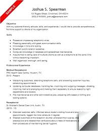 Dental Receptionist Resume Objective Fantastic Medical Clerk Resume Objective for Your Medical Clerk 86