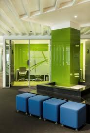 colorful office space interior design with office pillars in coloured glass the interior design