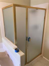 before gold brass shower makeover