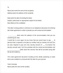 8+ Sample Rental Agreement Letter Templates | Sample Templates
