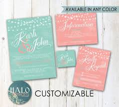 110 best wedding invitation images on pinterest Wedding Invitation Kits Coral mint & coral wedding invitations invitation kit, thank you card, save the date, printable, postcard wedding invitation kits can insert picture
