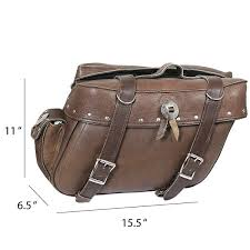 xelement 2918 br brown distressed leather motorcycle saddle bags