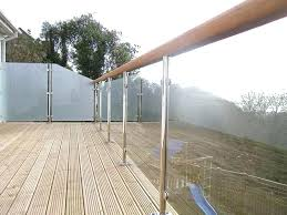 stainless steel barade post for crystal clear glass railing and cable system deck systems seattle r