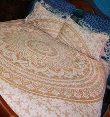 golden classic ombre boho mandala bedding duvet cover set of 2 pillow covers