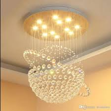 contemporary round k9 crystal chandeliers raindrop flush ceiling light stair pendant lights fixtures hotel villa crystal ball shape lamp contemporary