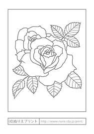 バラ3主線グレー花の塗り絵無料イラストぬりえプリント