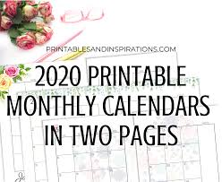 Free 2020 Monthly Calendar Template 2020 Monthly Calendar Two Page Spread Free Printable