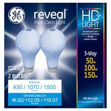 3 Way Incandescent Light Bulbs Ge Reveal 50 150 Watt 3 Way Long Life Incandescent Light