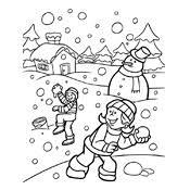 Kleurplaat Winter Vol Sneeuwpret Seizoen 3248