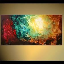 style of eli s art original contemporary teal abstract acrylic painting colorful cosmos on canvas by osnat made to order