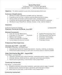Objective For Pharmacy Resume Hospital Pharmacist Resume Technician Resume Example Example Entry