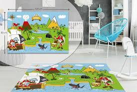 treasure island kids play fun rug carpet high quality soft touch mat non slip girls and boys