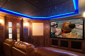 Enjoyable Blue Ceiling Lighting Over Tan Leather Sofa And Wide Lcd Tv In  Modern Media Man Room Ideas