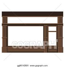 store window clipart. Unique Window Shopfront With White Blank Windows Wood Store Facade Vector To Window Clipart W