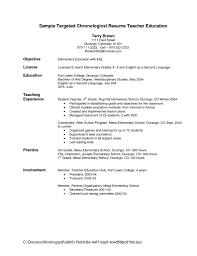 Education Resume Objectives 20 New Teacher Resume Sample Teachers