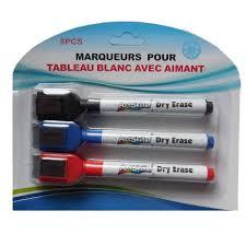 3 x Feutre Marqueur Effaçable Pour Tableaux Blanc + Eponge Et ...
