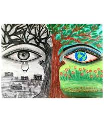 drawing on save trees bishwajit dutta save the trees charcoal and soft pastel painting