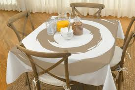 beautiful tablecloths plastic for more look dining table round tablecloths plastic in brown and white